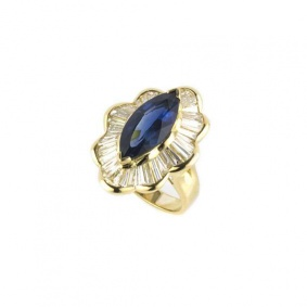 18k Yellow Gold Marquise Sapphire and Baguette Diamond Dress Ring